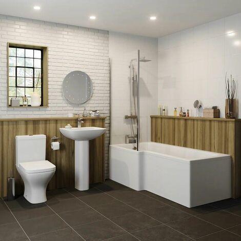 Bathroom Suite 1600mm Left Hand L Shape Shower Bath Toilet Basin Full Pedestal