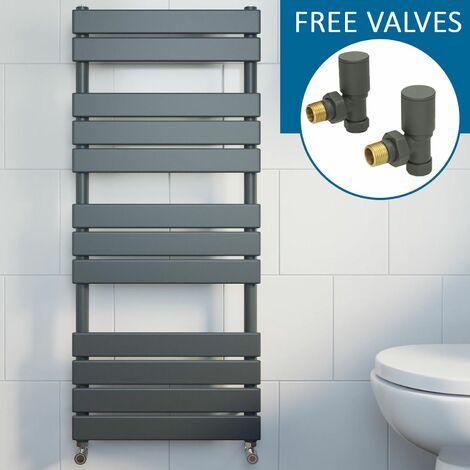 Modern Flat Panel Heated Towel Rail Radiator Anthracite 1200 x 500mm FREE Valves
