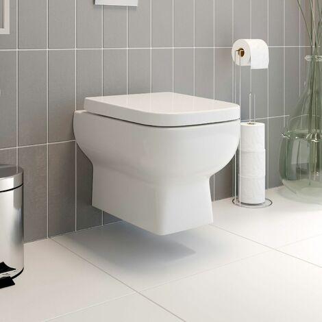 Wall Hung Toilet Pan Soft Close Seat White Gloss Ceramic Bathroom