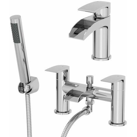 Waterfall Bathroom Basin Sink Mixer Tap Bath Shower Mixer Tap Set Modern Chrome