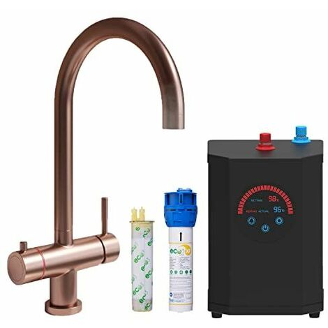 Instant Boiling Water 3 in 1 Tap Curved Tank & Filter Cold Hot Brushed Copper