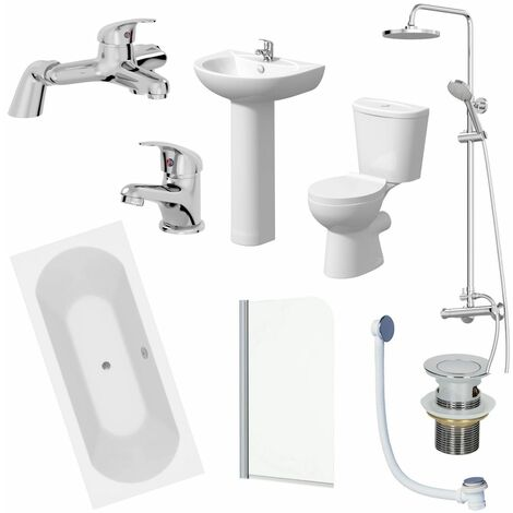 Bathroom Suite 1700x750 Double Ended Bath Toilet Basin Pedestal Taps Shower