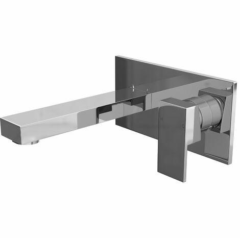 Modern Bathroom Bath Filler Tap Square Wall Mounted Brass Single Lever Chrome