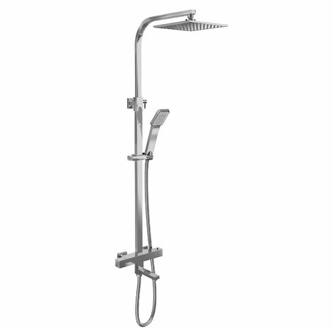 Bathroom Thermostatic Mixer Shower Set Bath Filler Tap Square Twin Head Drencher