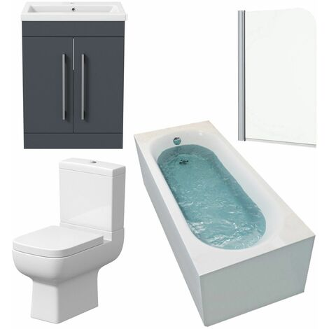 Bathroom Suite 1500 x 700 Curved Bath Screen Toilet Basin Sink Vanity Grey Unit