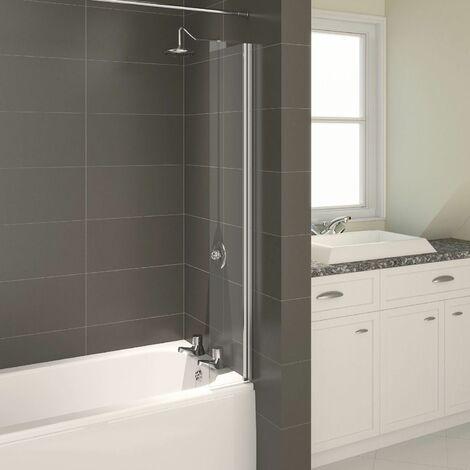 Aqualux Aqua 4 Splash Guard Bath Shower Screen Chrome Frame Square Reversible