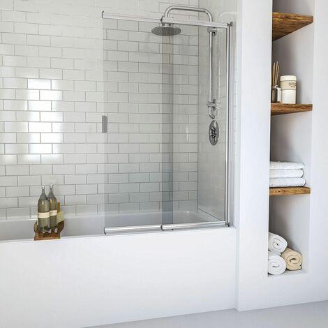 Aqualux Aqua 6 2 Panel Sliding Bath Shower Screen Chrome Frame Square Reversible
