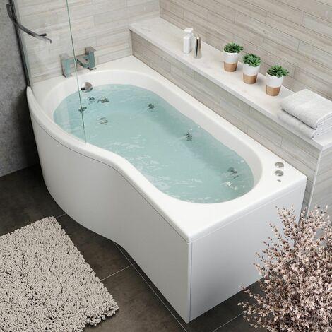 1700 P Shape LH Whirlpool Bath 10 Jets LED Lighting Screen Side End Panel White