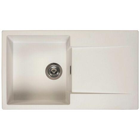 Reginox Amsterdam 10 Kitchen Sink Inset Single Bowl Drainer Granite Waste White