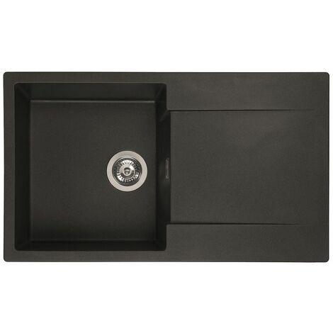 Reginox Amsterdam 10 Kitchen Sink Inset Single Bowl Drainer Granite Waste Black