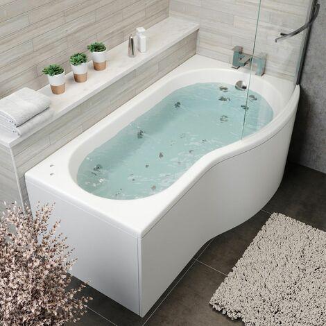 1700mm P Shaped RH Whirlpool Bath 26 Jets Screen Side End Panel White Bathroom