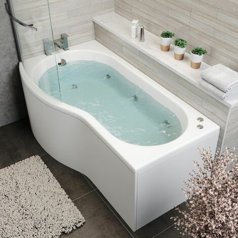 1700mm P Shaped LH Whirlpool Bath 6 Jets Screen Side End Panel White Bathroom