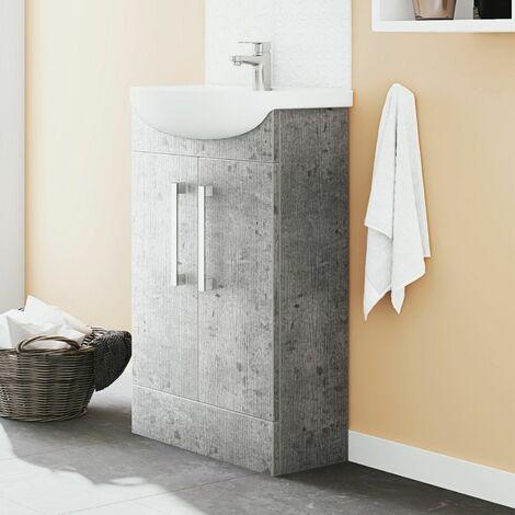 Vasari Cloakroom Bathroom Freestanding Vanity Unit Basin Sink 500mm Concrete