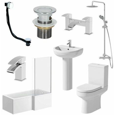 1700mm Tivoli Bathroom Suite L Bath Shower Screen Toilet Basin Taps - Right Hand