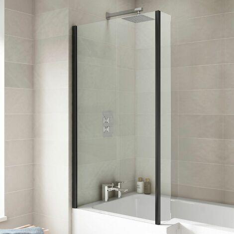 Over Bath Shower Screen Door 800mm Return Black Square 6mm Safety Glass Panel