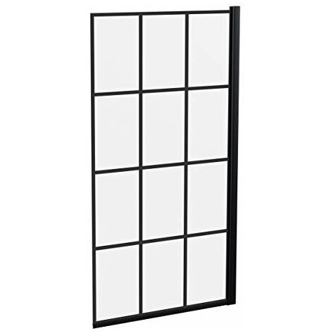 Bath Shower Screen Door Hinged 800mm Black Grid Square 6mm Safety Glass Panel