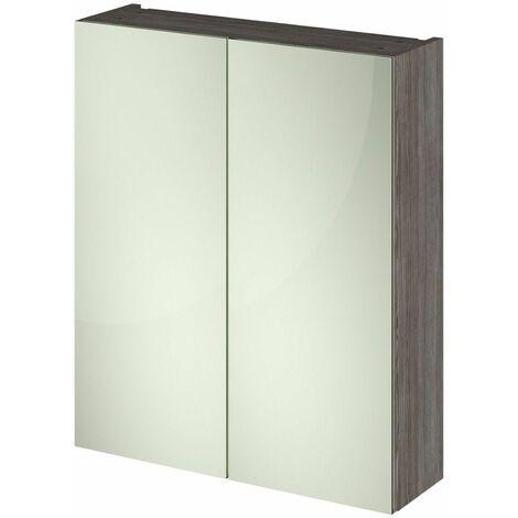 715 x 600mm Bathroom Mirror Cabinet Wall Mounted Brown Grey Storage Cupboard