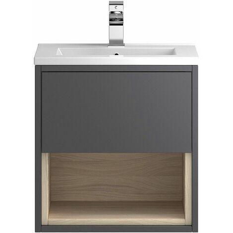 Vasari Camden Grey Gloss Wall Hung Cloakroom Vanity Unit Deep Basin 500mm