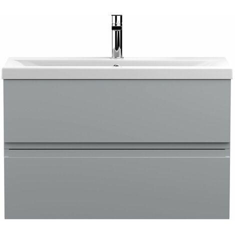 Vasari Silk Grey 800mm Wall Hung Vanity Unit Mid Edge Basin Sink Bathroom Modern
