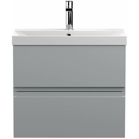 Vasari Silk Grey 600mm Wall Hung Vanity Unit Thin Edge Basin Sink Bathroom
