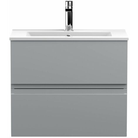 Vasari Silk Grey 600mm Wall Hung Vanity Unit Minimalist Basin Sink Bathroom