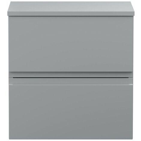 Vasari Silk Grey 500mm Wall Hung Vanity Unit Top Board Bathroom Cloakroom Modern