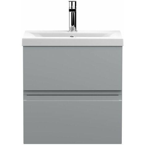 Vasari Silk Grey 500mm Wall Hung Vanity Unit Mid Edge Basin Sink Bathroom Modern