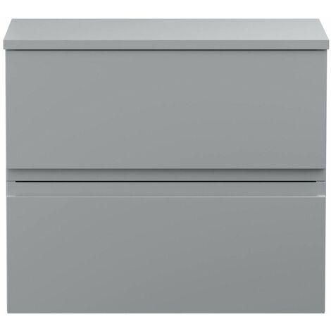 Vasari Silk Grey 600mm Wall Hung Vanity Unit With Top Board Bathroom Soft Close