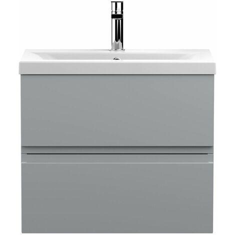 Vasari Silk Grey 600mm Wall Hung Vanity Unit Mid Edge Basin Sink Bathroom Modern