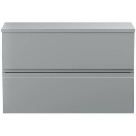 Vasari Silk Grey 800mm Wall Hung Vanity Unit With Top Board Bathroom Modern