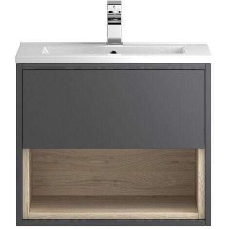 Vasari Camden Grey Gloss Wall Hung Cloakroom Vanity Unit Deep Basin 600mm