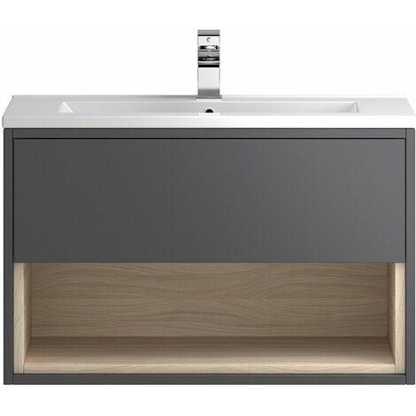 Vasari Camden Grey Gloss Wall Hung Cloakroom Vanity Unit Deep Basin 800mm