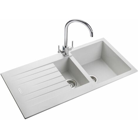 Rangemaster Andesite Kitchen Sink 1.5 Bowl White Granite Inset Reversible Waste