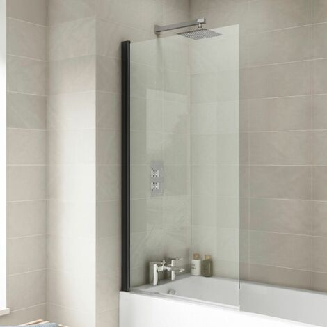 Over Bath Shower Screen Square Door 800mm Black 6mm Safety Glass Panel Frameless