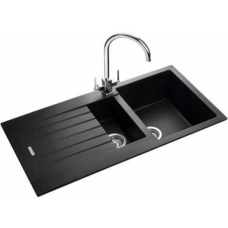 Rangemaster Andesite Kitchen Sink 1.5 Bowl Black Granite Inset Reversible Waste