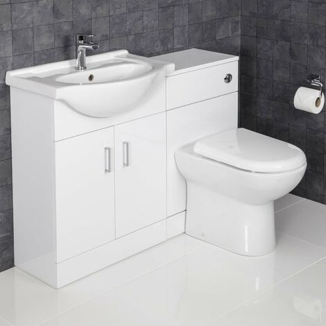 1150mm Toilet and Bathroom Vanity Unit Combined Basin Sink White