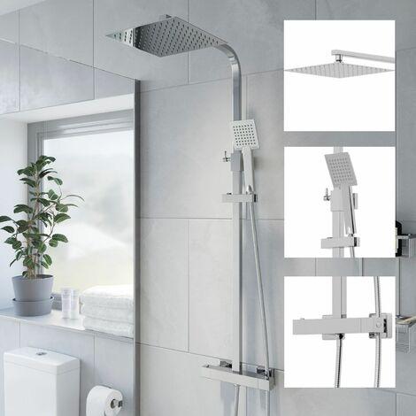 Thermostatic Shower Mixer Square Chrome Bathroom Twin Head Set