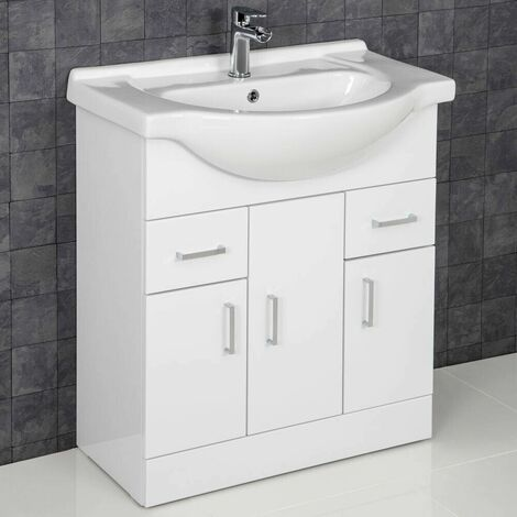 Bathroom Vanity Unit Basin Tap + Waste Gloss White Floorstanding