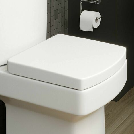 Modern White Square Toilet Seat Soft Closing Silent Chrome Hinges