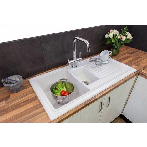 Reginox Ceramic 1.5 Bowl Kitchen Sink Reversible Waste