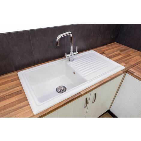 Reginox RL304CW Traditional Kitchen Sink Single Bowl Reversible Drainer Waste