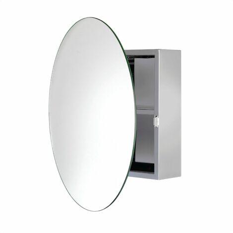 Croydex Severn Circular Door Bathroom Mirror Cabinet Stainless