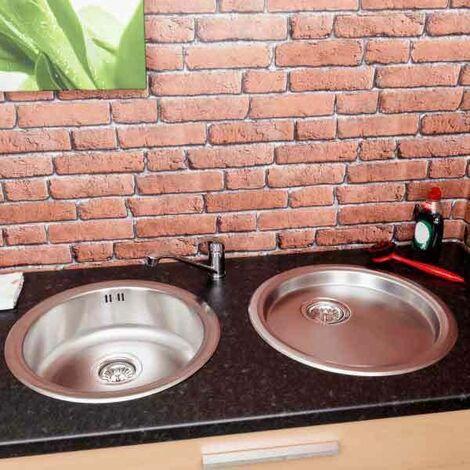 Säuber Round Kitchen Sink Single Bowl Drainer Stainless Steel Inset Basket Waste