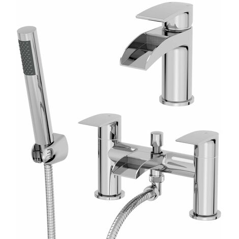 Waterfall Bathroom Basin Tap Bath Shower Mixer Tap Set Chrome