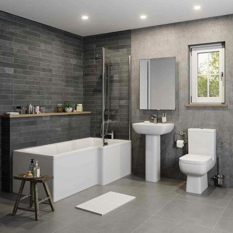 Modern L Shaped Bathroom Suite RH 1700mm Showerbath Screen Toilet Basin Pedestal