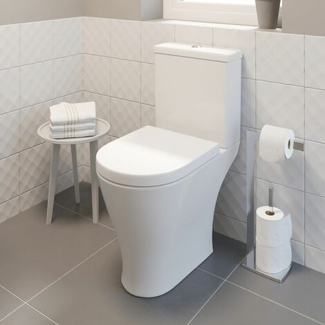 Bathroom Toilet Close Coupled Space Saving Compac WC Pan Soft Close Seat Cistern