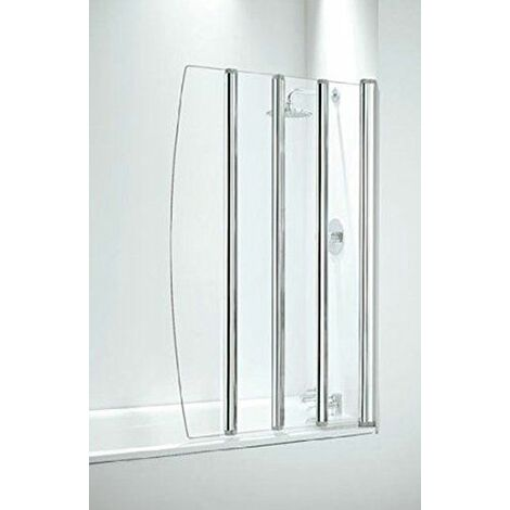 Coram Bathroom 4 Panel Over Bath Folding Shower Screen Chrome