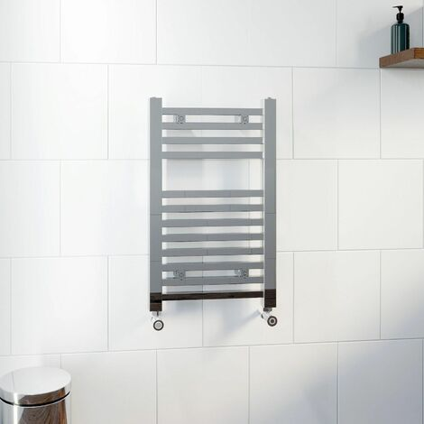 DuraTherm Square Bar Heated Towel Rail Chrome - 650 x 400mm