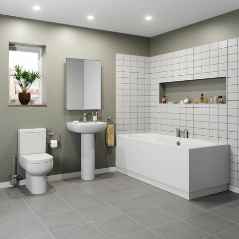 Bathroom Suite Double Ended Bath Close Coupled Toilet Full Basin