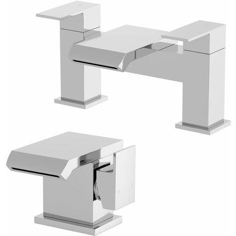 Waterfall Basin Mixer Tap Bath Filler Tap Set Chrome Square Lever